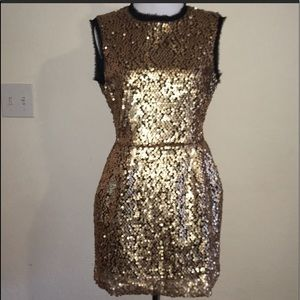 Nanette Laporte Size 6 Gold Sequined Dress